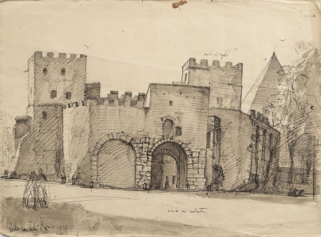 Porta San Paolo e la Piramide Cestia in Roma - Lino  Bianchi Barriviera