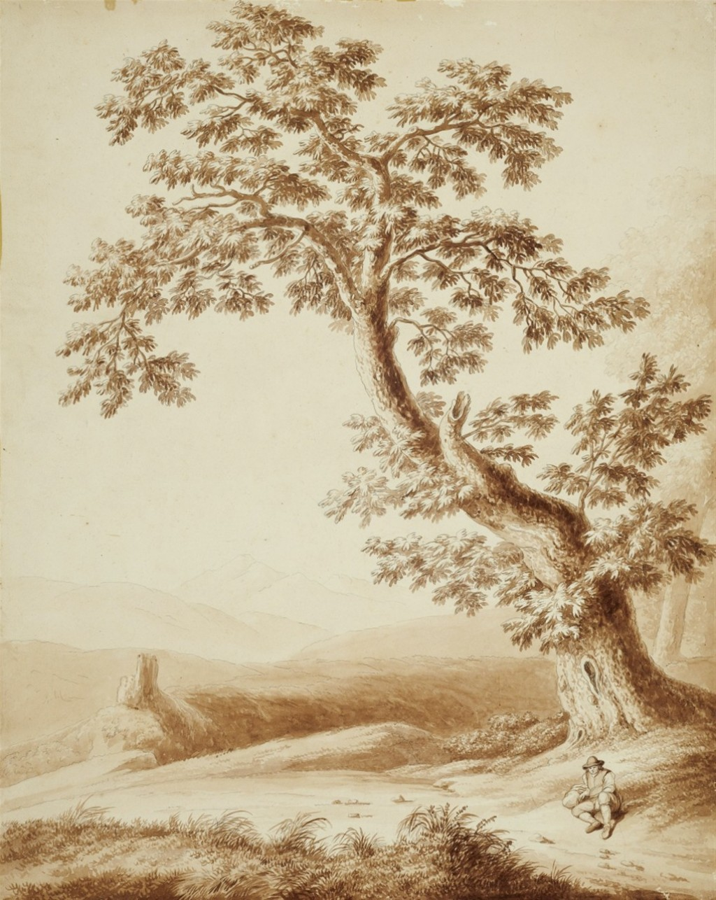 Paesaggio con viandante sotto un grande castagno - Jacob Philipp Hackert