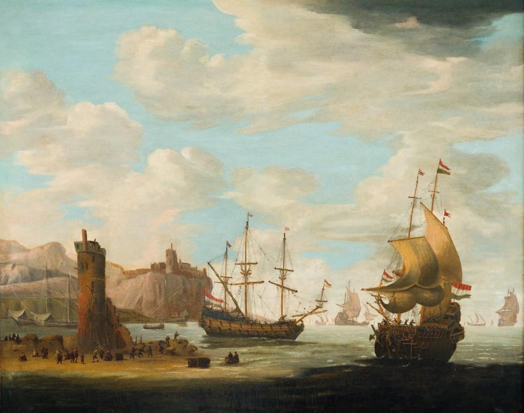 Paesaggio marino con velieri - Adam Silo (attribuito a)