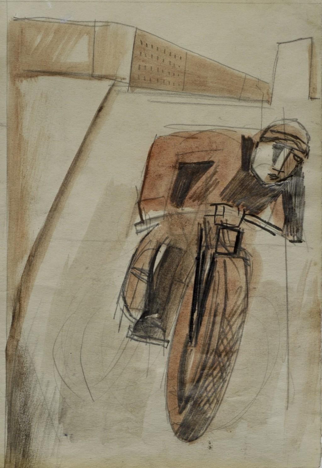 Motociclista in periferia - Mario Sironi